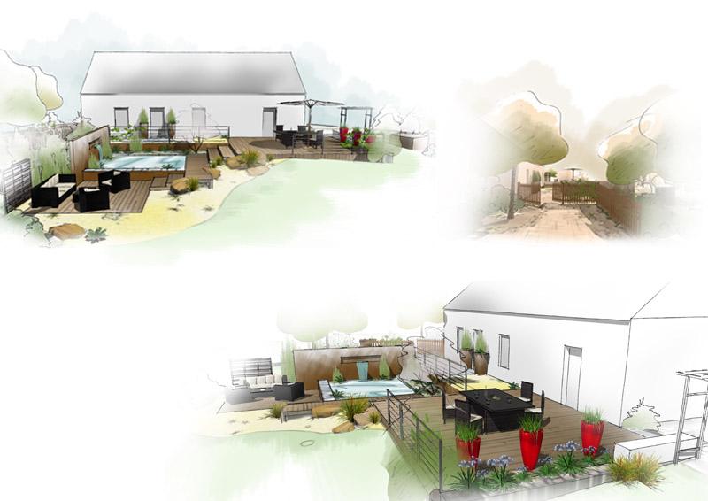R alisation d 39 un jardin contemporain par daniel paysage for Conception jardin d eau
