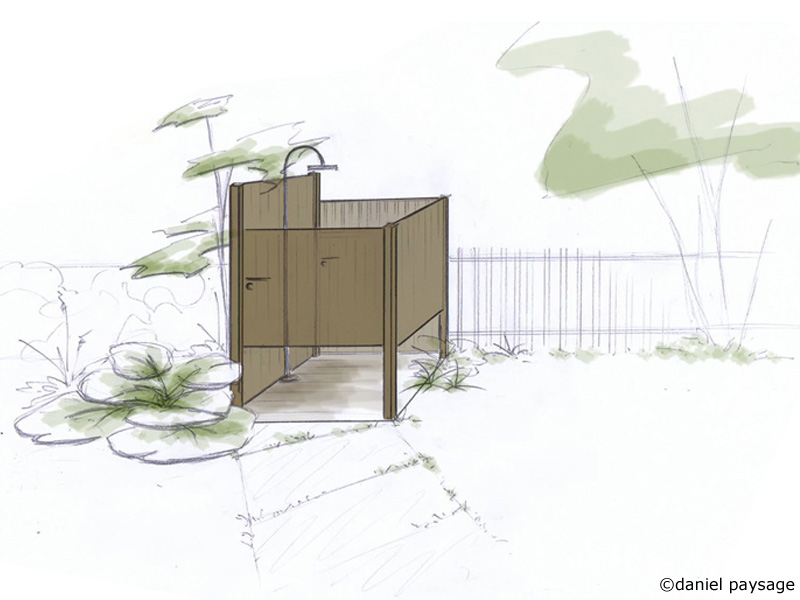 croquis espace douche extérieure