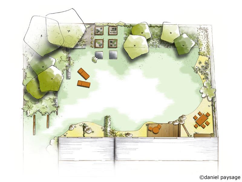 plan d'aménagement d'un jardin rétro