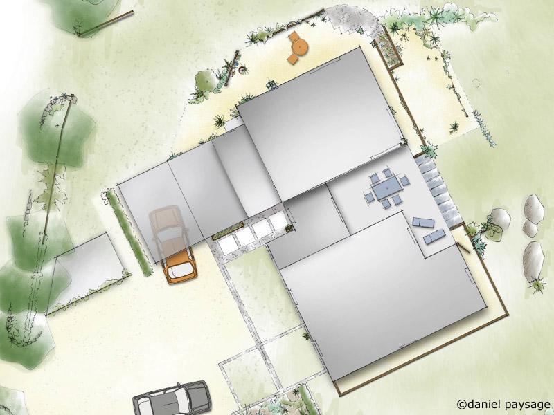 plan de jardin d'une maison contemporaine