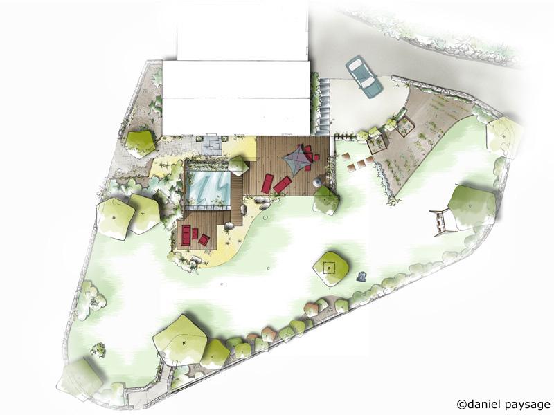 plan d'un jardin contemporain