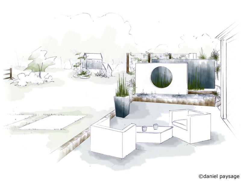 terrasse contemporaine avec mur platoflex
