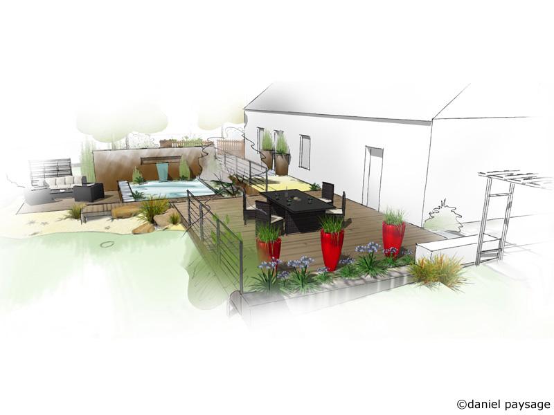 terrasse et bassin contemporain