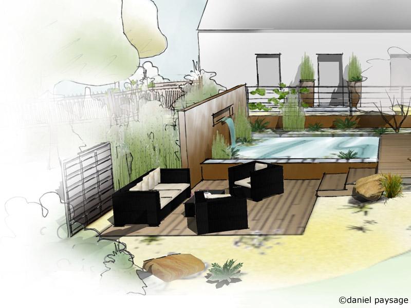 terrasse et bassin jardin