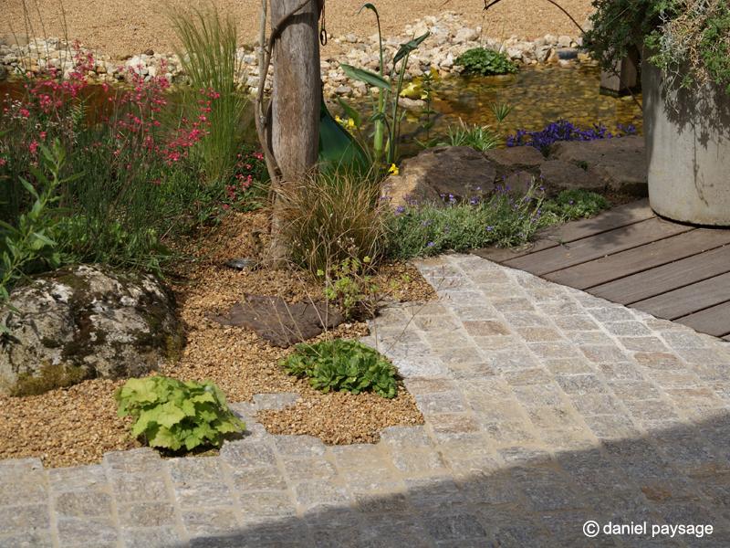 Pavés - granit - bois - bassin