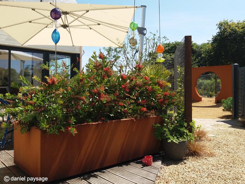 Terrasse bois-corten-arche-bac